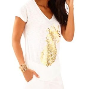 EUC Lilly Pulitzer Pineapple Colie T-Shirt Size XS